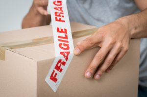 fragile sticker in box