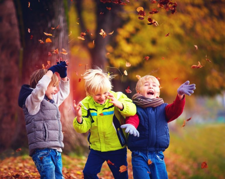 little boys playing outdoor in autumn