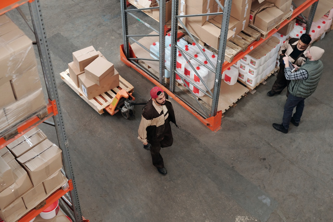 two workers at warehouse